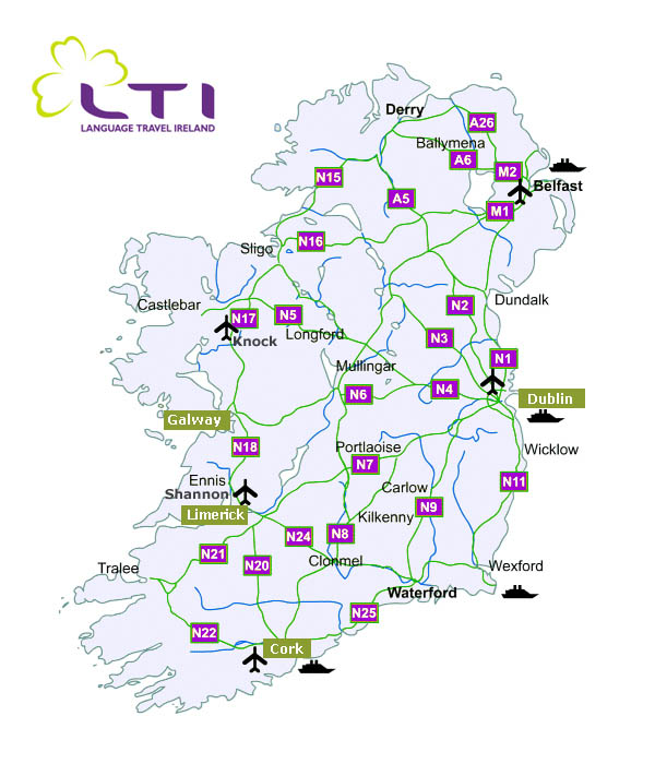 Language Travel Ireland Map of Ireland – Travel Map of Ireland